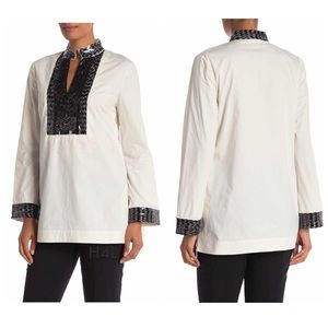 NWT Tory Burch Sequin + Ivory Tunic Top